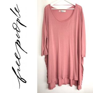 Free People Beach Pink Tunic Longe Sleeve Top m/l